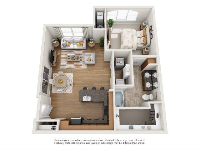 1 bedroom, 1 bath with den apartment Williamsburg, VA