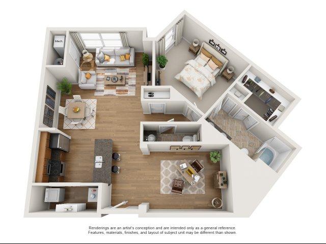 1 bedroom, 1.5 bath with den apartment Williamsburg, VA