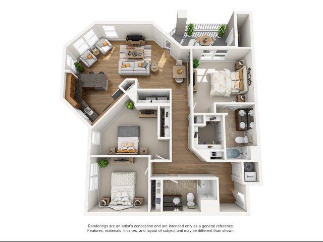 3 br, 2 bath with balcony apartment for rent Williamsburg, VA