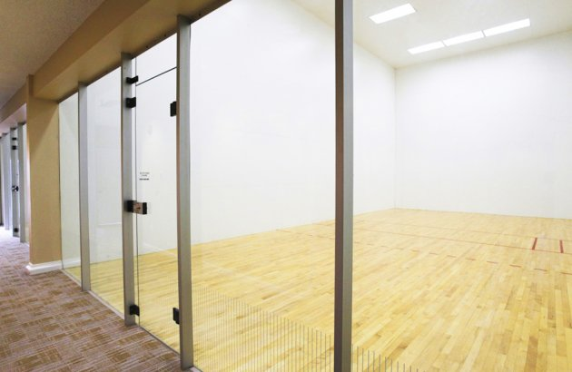 Enjoy time with friends on the tennis and racquetball courts