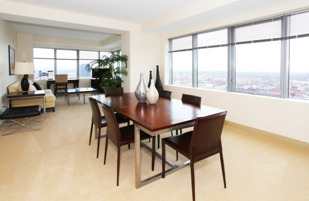 Enjoy sweeping views of the city with windows that open and allow a fresh breeze