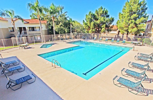 Extensive amenities that include 24- fitness center,  racquetball, tennis, basketball, and pool