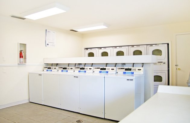 Laundry day is easy with four 24 hr onsite clothes care centers, which accept debit cards
