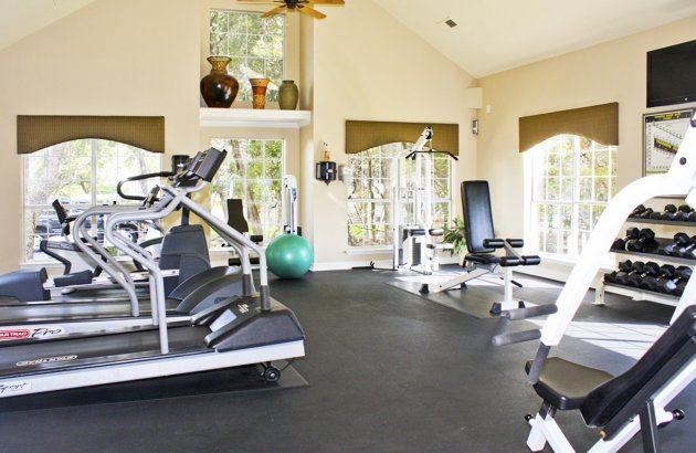 It's easy to hit the gym with the 24 hour fitness center equipped with cardio machines and free weights