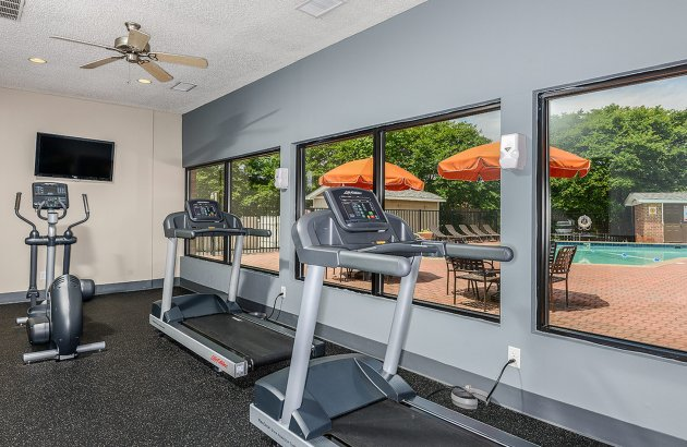 Stay fit in our 24 hr fitness center complete with cardio and weight equipment