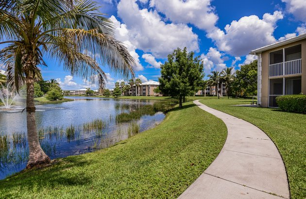 Home is a peaceful enclave with a beautiful lake, well maintained grounds, and walking paths