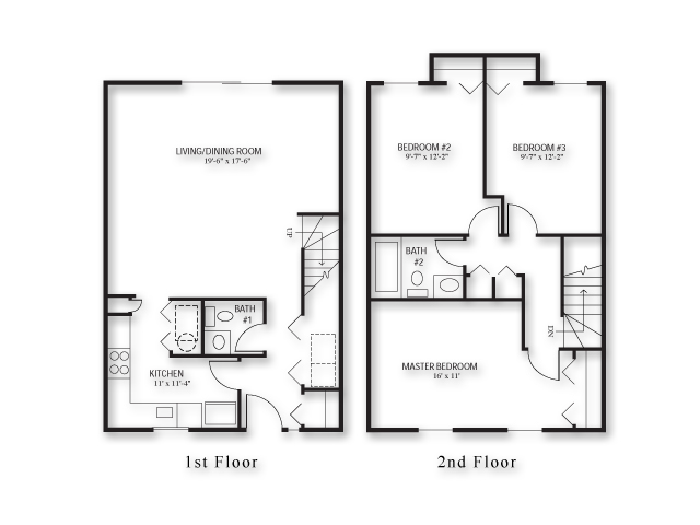 3 Bedroom Townhouse Plans 3 Bed 2 5 Bath Apartment In