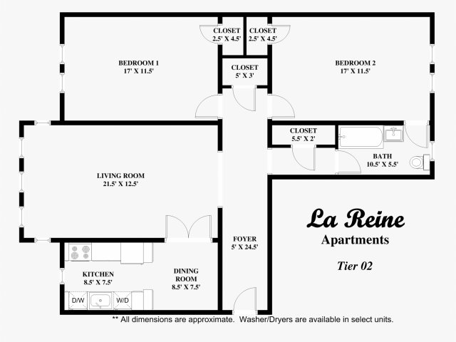 Tier 02 - 2 bed, 1 bath
