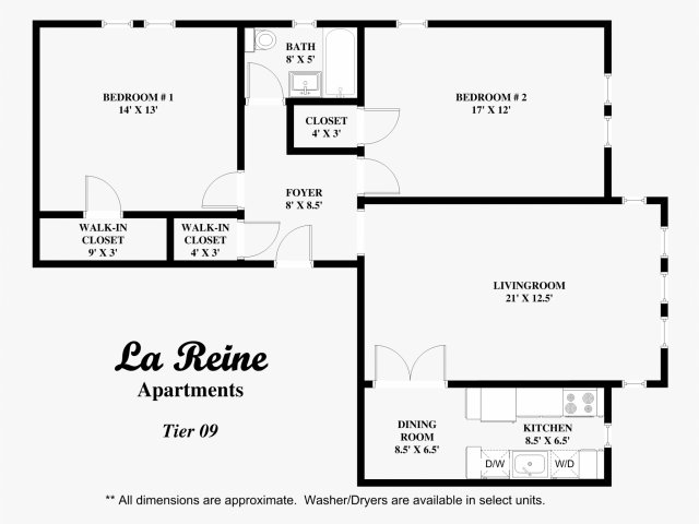 Tier 09 - 2 bed, 1 bath