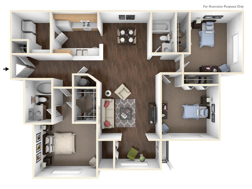 3 Bed 2 Bath Apartment in Newnan GA Lullwater at Calumet Apartments
