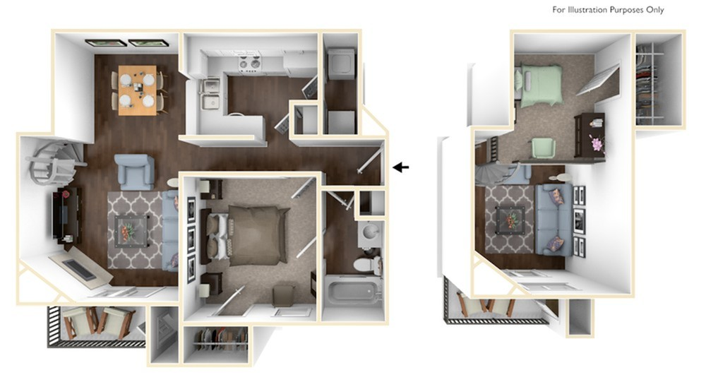 One Bedroom/One Bathroom with  Loft