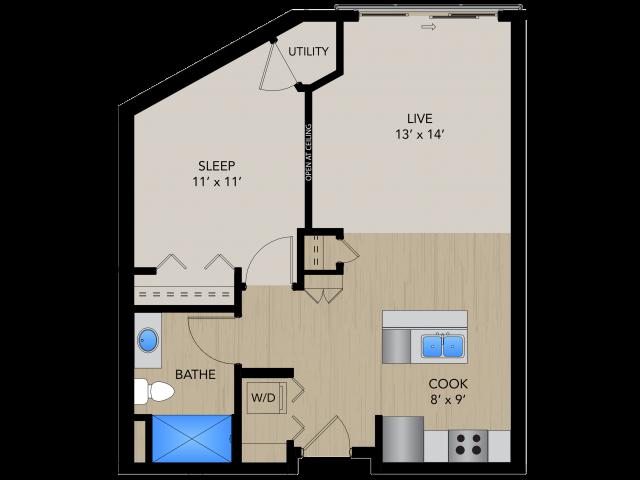 Floor Plan 1B   1505 Apartments   Apartments in Grafton, WI