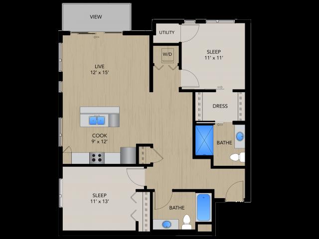 Floor Plan 2B   1505 Apartments   Apartments in Grafton, WI