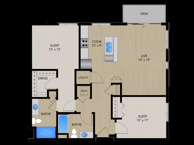 Floor Plan 2E   1505 Apartments   Apartments in Grafton, WI