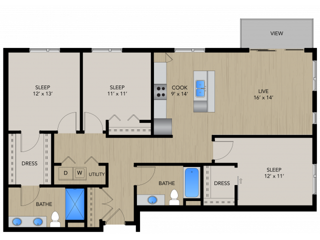 Floor Plan 3A   1505 Apartments   Apartments in Grafton, WI
