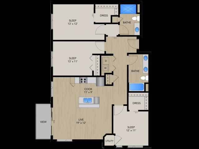 Floor Plan 3B   1505 Apartments   Apartments in Grafton, WI