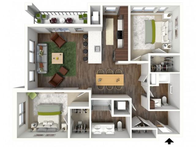 Floor Plan D2.1 | Jade at North Hills | Apartments in Menomonee Falls, WI