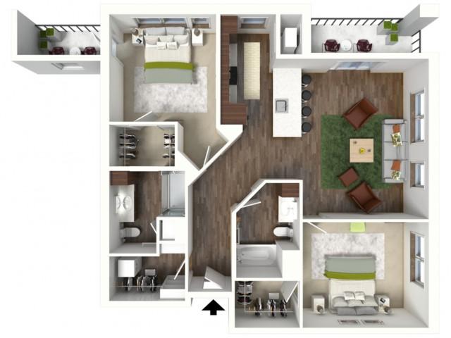 Floor Plan D1.1 | Jade at North Hills | Apartments in Menomonee Falls, WI