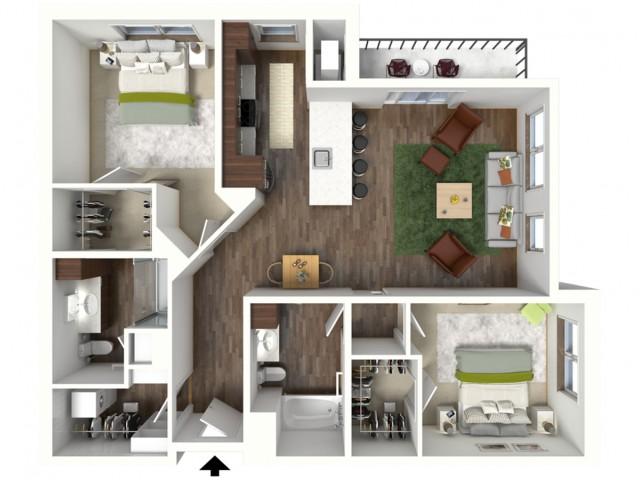 Floor Plan D2 | Jade at North Hills | Apartments in Menomonee Falls, WI