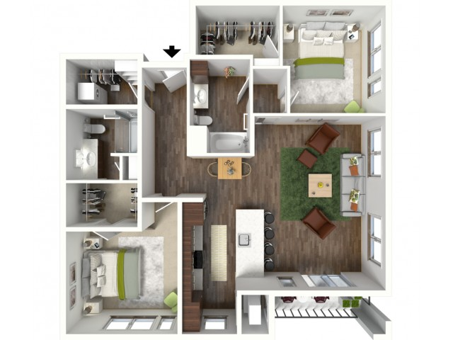 Floor Plan D3 | Jade at North Hills | Apartments in Menomonee Falls, WI