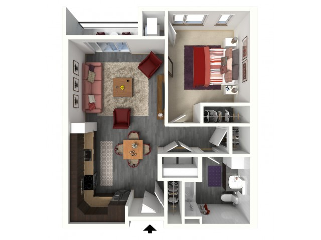 Floor Plan B2A   1505 Apartments   Apartments in Grafton, WI