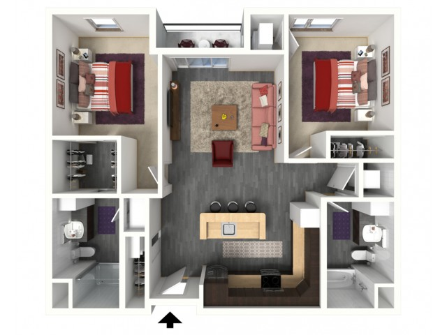 Floor Plan D1   1505 Apartments   Apartments in Grafton, WI