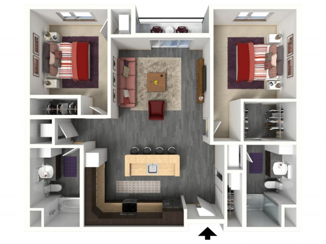 Floor Plan D2   1505 Apartments   Apartments in Grafton, WI