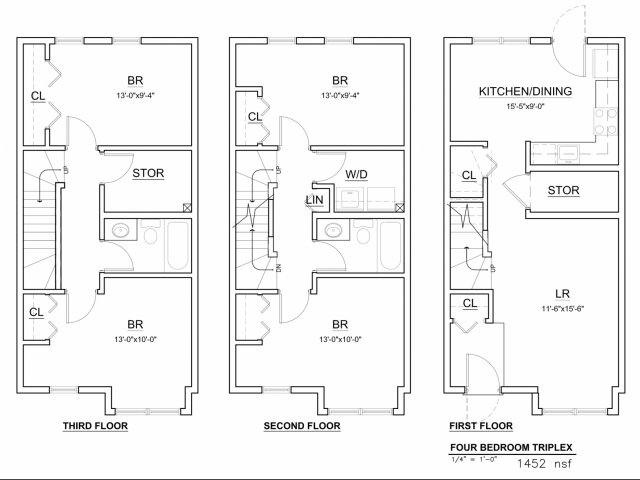 4 bed 2 bath apartment in boston ma maverick landing for Triplex floor plans