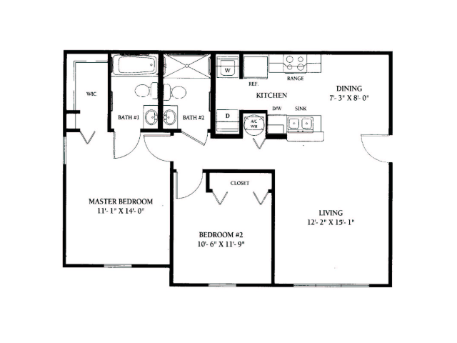 for the 2 bedroom floor plan. 2 Bed   2 Bath Apartment in Tallahassee FL   Jamestown Woods