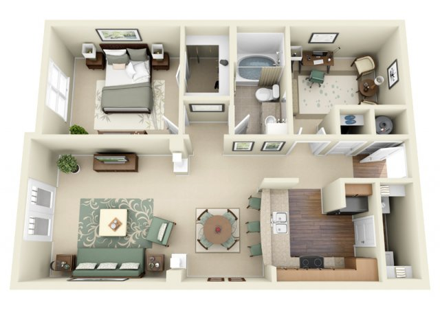 1 Bedroom Floor Plan | Weston Lakeside