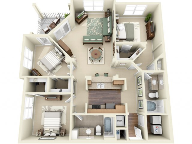 3 Bedroom Floor Plan | Weston Lakeside