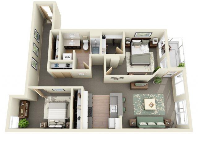 2 Bedroom Floor Plan   Mural