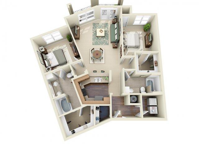 2 Bedroom Floor Plan | Weston Lakeside 4