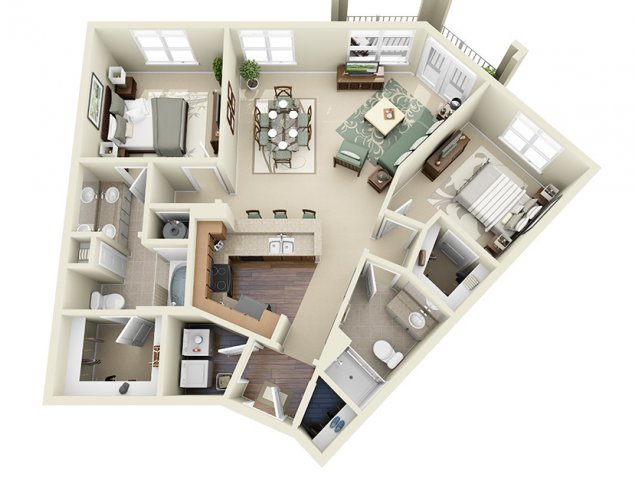 2 Bedroom Floor Plan | Weston Lakeside 3