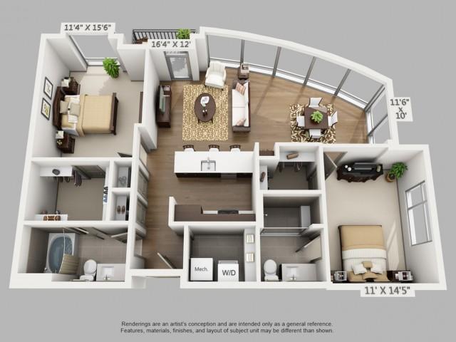 Denver 2 Bedroom Apartments | Elan Union Station 4
