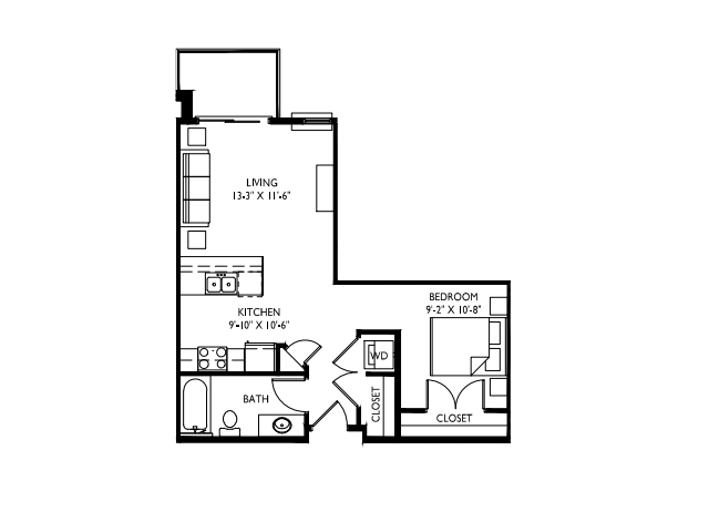 Separate, private sleeping area-9 foot ceilings-Large windows-Stainless steel appliances-Wood plank floors-Quartz kitchen island-Granite countertops in baths -Washer and dryer- Linen closet-Patio or deck