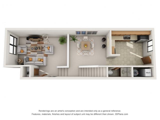 2 Bedroom Townhouse Floor 1