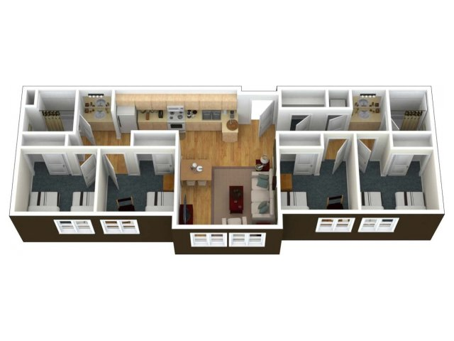 A 3 dimension view from above into a 4 Bedroom2 Bath - 6 Person Apartment. The private bedroom comfortably fits a twin extra-long and additional furnishing include a desk, chair and dresser per person in the bedrooms. The living room