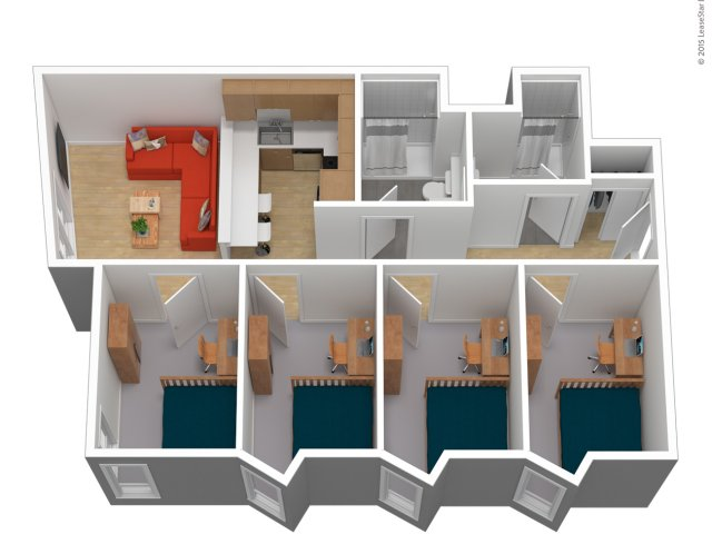Bougainvillea floor plan with four single bedrooms, 2 bathrooms, kitchen and living room.