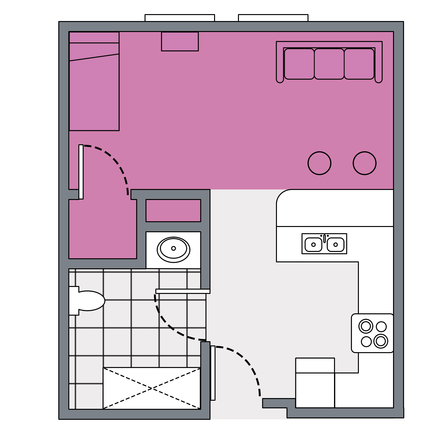 This is a studio apartment occupied by one person. This housing option is available to upperclassmen only.
