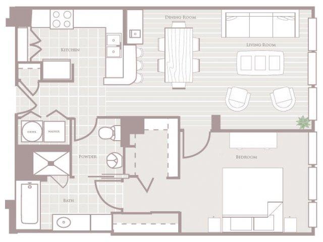 One bedroom one bathroom A1 Floorplan at Rienzi at Turtle Creek Apartments in Dallas, TX