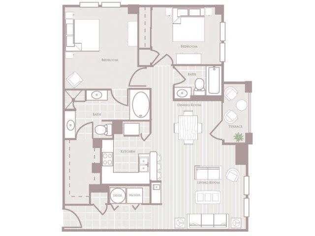 Two bedroom two bathroom B1 Floorplan at Rienzi at Turtle Creek Apartments in Dallas, TX