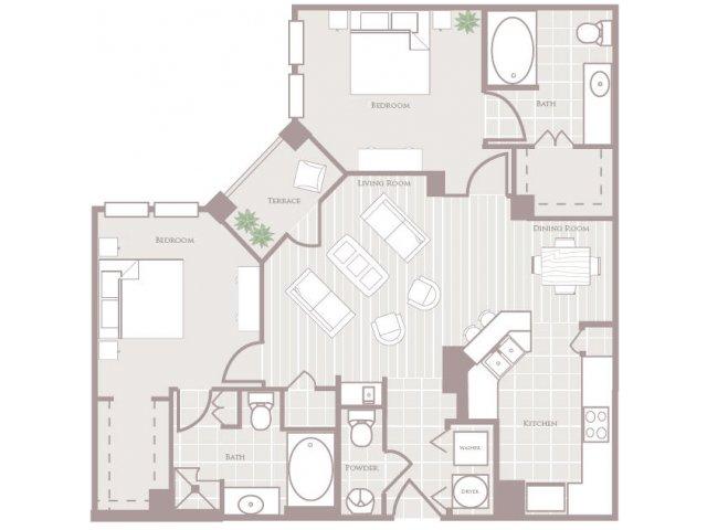 Two bedroom two and a half bathroom B3 Floorplan at Rienzi at Turtle Creek Apartments in Dallas, TX