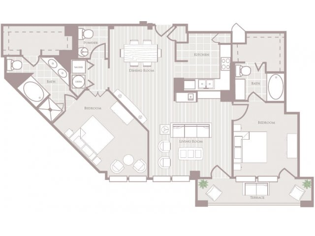 Two bedroom two and a half bathroom B5 Floorplan at Rienzi at Turtle Creek Apartments in Dallas, TX