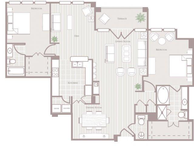 Two bedroom two and a half bathroom B7 Floorplan at Rienzi at Turtle Creek Apartments in Dallas, TX
