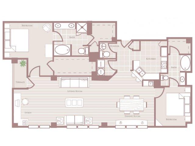 Two bedroom two and a half bathroom B8 Floorplan at Rienzi at Turtle Creek Apartments in Dallas, TX