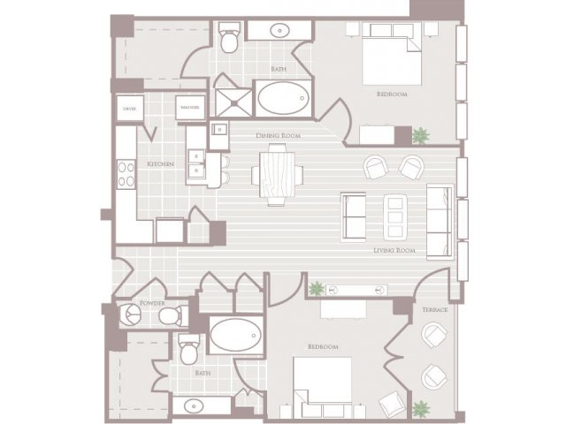 Two bedroom two and a half bathroom B4 Floorplan at Rienzi at Turtle Creek Apartments in Dallas, TX