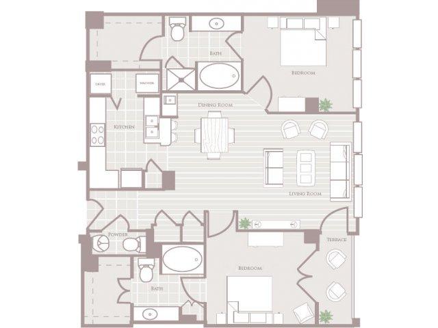 Two bedroom two and a half bathroom B4 Floorplan at Rienzi at Turtle Creek Apartments in Dallas, TX