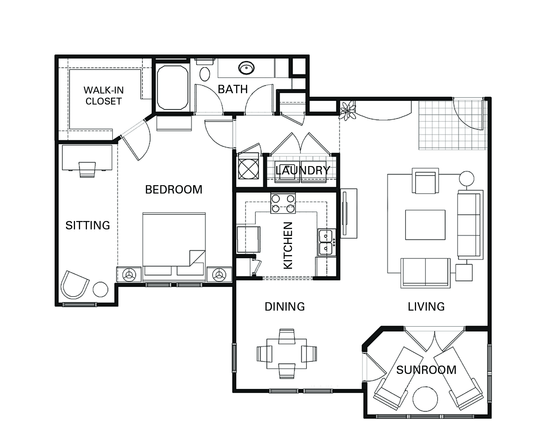 One bedroom one bathroom A6 floorplan at The Apartments at Blakeney in Charlotte, NC