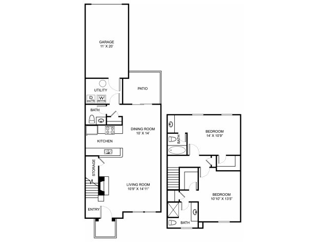 Two bedroom two and a half bathroom B4TH floorplan at The Residence at Barrington Apartments in Aurora, OH